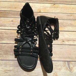 Brash Gladiator Black Studded Sandals